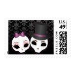 Bride & Groom Skullies (Violet) Postage Stamps