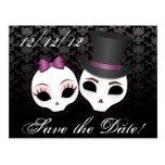 Bride & Groom Skullies (Violet) Save the Date Post Card