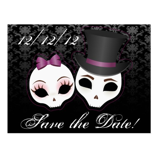 Bride & Groom Skullies (Violet) Save the Date Postcard