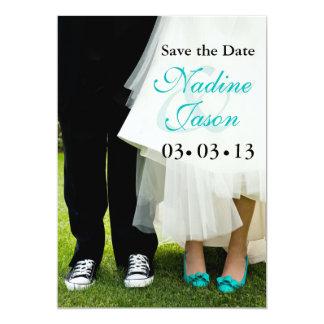 Bride & Groom Sneakers & High Heels Save the Date Card