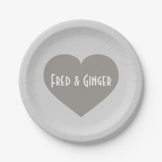 Bride & Groom solid silver heart Paper Plate