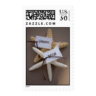 Bride Groom Starfish Beach Wedding Stamp