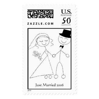 Bride & Groom Stick Figure Postage