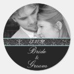 Bride & Groom Sticker Your Photo Aqua Trim