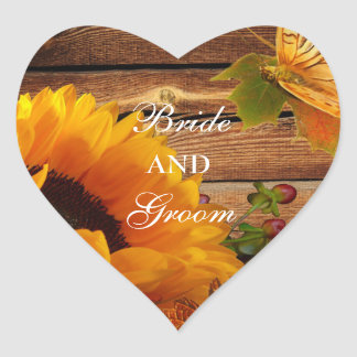 Bride & Groom Stickers, Rustic Country Sunflower Heart Sticker