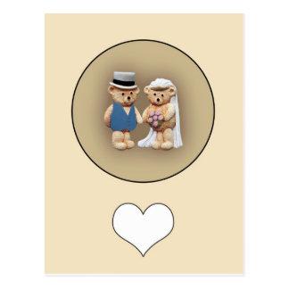 Bride & Groom Teddy Bears Postcard