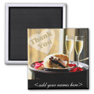 Bride & Groom Thank You 2 Inch Square Magnet
