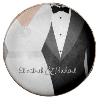 Bride & Groom Tuxedo & Dress Custom Name Wedding Chocolate Dipped Oreo
