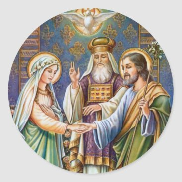 Bride Groom Virgin Mary & St. Joseph Classic Round Sticker