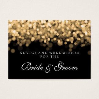 Bride & Groom Wedding Advice Card Gold Lights