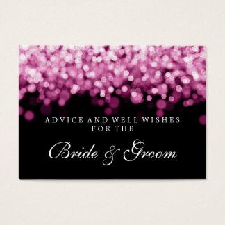 Bride & Groom Wedding Advice Card Pink Lights