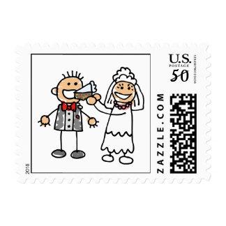 Bride Groom Wedding Cake Invitation RSVP Save Date Postage