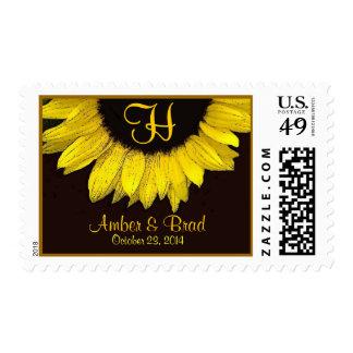 Bride Groom Wedding Date and Monogram Sunflower Postage