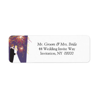 Bride Groom Wedding Fireworks Return Address Label