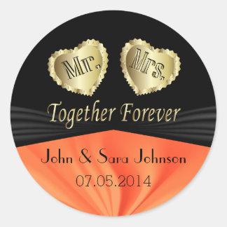 Bride & Groom Wedding in Orange   Personalize Classic Round Sticker