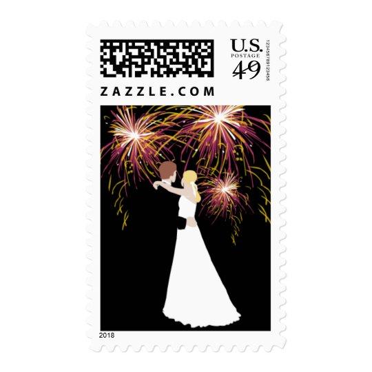Bride Groom Wedding Invitation Fireworks RSVP Postage