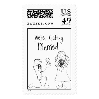 Bride Groom Wedding Invitation RSVP Save The Date Postage Stamps