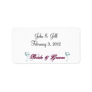 Bride & Groom Wedding Labels