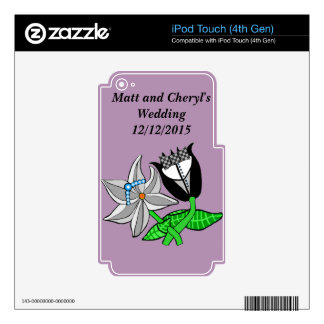 Bride Groom Wedding Memorabilia Customize Text iPod Touch 4G Skin