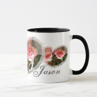 Bride & Groom Wedding Mug - PINK Roses