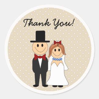 Bride & Groom Wedding Off White Polka Dot Stickers