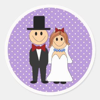Bride & Groom Wedding Purple Polka Dot Stickers