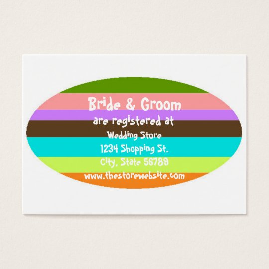 Bride & Groom Wedding Shower Registry Insert Card