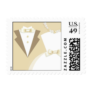 Bride & Groom Wedding Small Postage