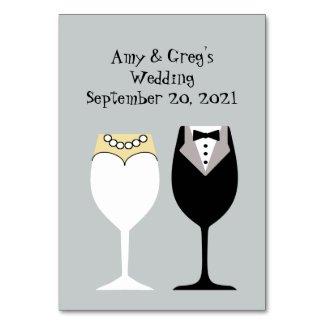 Bride & Groom Wine Glasses Table Number Card