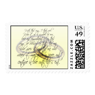 Bride & Groom With This Ring I Thee Wed Postage Stamp