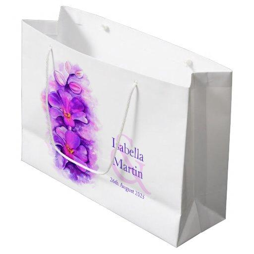 Zazzle Wedding Gift Bags : Bride grooms purple orchid wedding favor gift bag Zazzle