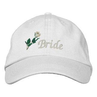 Bride Hat, Embroidered White Rose Embroidered Baseball Hat