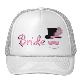 Bride hat with top hat, mustache, pearls, feather
