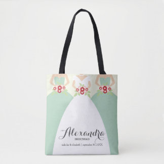 Bride & Her Bridesmaids Wedding Party Tote (mint)