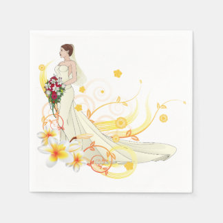 Bride Holding Flowers Paper Napkins