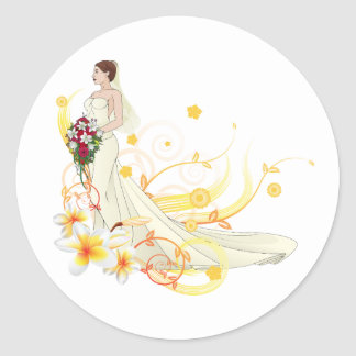 Bride Holding Flowers Stickers