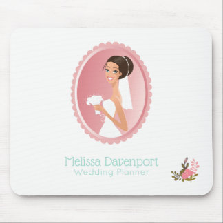 Bride in a White Wedding Dress Holding a Bouquet Mouse Pad
