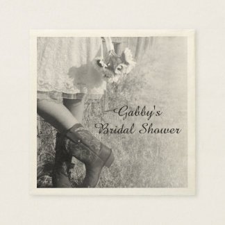 Bride in Cowboy Boots and Sunflowers Bridal Shower Napkin