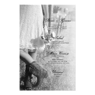 Bride in Cowboy Boots and Sunflowers Wedding Menu