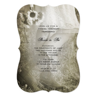Bride in Cowboy Boots Ranch Bridal Shower Sepia Card