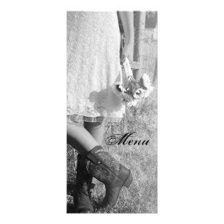 Bride in Cowboy Boots Sunflowers Wedding Menu