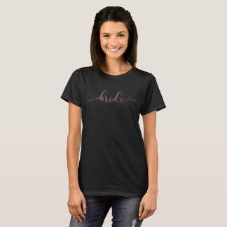 """""""Bride"""" in Faux Rose Gold Glitter, Modern Script T-Shirt"""