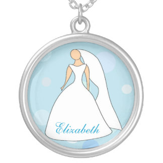 Bride in Gown Blue Polka Dot Personalized Necklace
