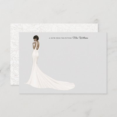 Bride in Gown Bridal Shower Thank You Card