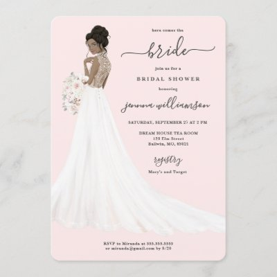 Bride in Lace Gown Bridal Shower Invitation