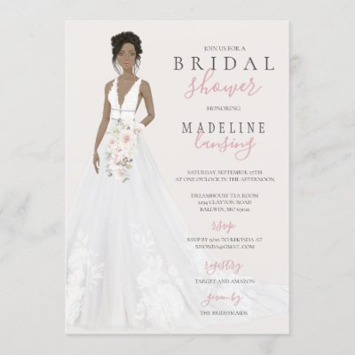 Bride in Lace Wedding Gown Bridal Shower Invitation