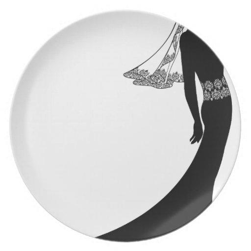 Bride in wedding dress silhouette plates
