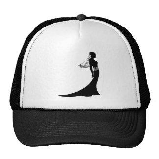 Bride in wedding dress silhouette trucker hat