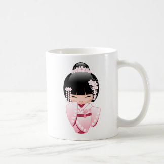 Bride Kokeshi Doll - Cute Japanese Geisha Girl Coffee Mug