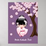 Bride Kokeshi Doll - Cute Oriental Geisha Girl Poster